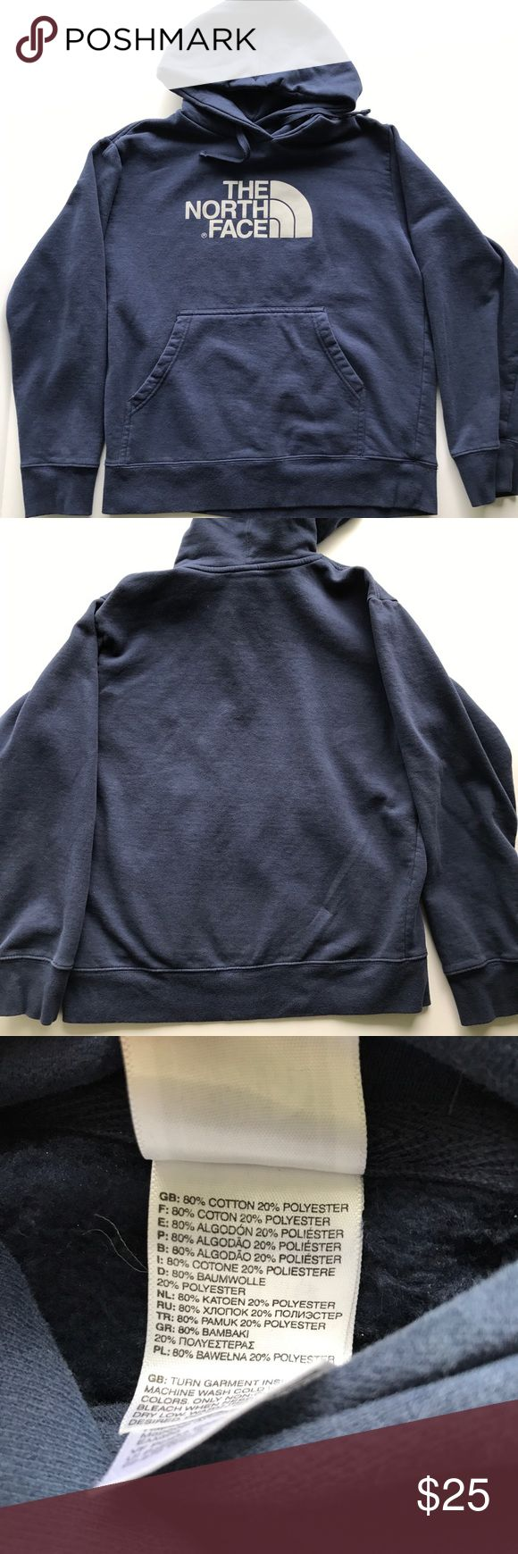 North face Men's hoodie M North Face Men's Medium hoodie. Faded Navy color. Super soft material. no rips or stains. 80% cotton, 20% polyester. Kangeroo pocket. North Face Sweaters