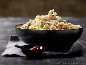 Scharfer Couscous-Salat - smarter - mit Garnelen und Avocado. Kalorien: 368 Kcal | Zeit: 15 min. #fast #recipes