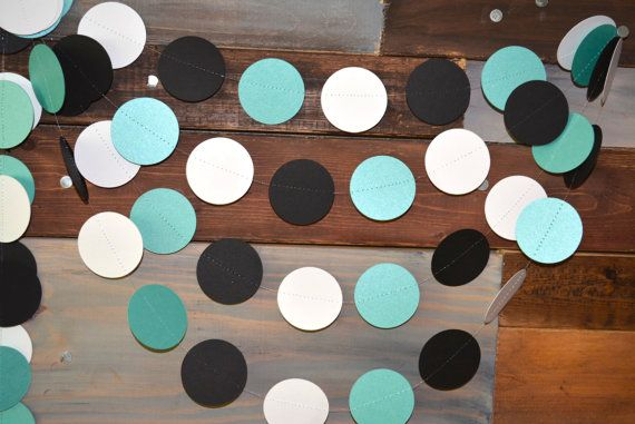 Robins egg blue, white and black Paper Garland for your next baby shower, birthday party, bridal shower, wedding, wedding brunch, etc!