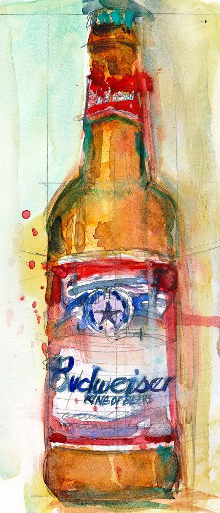 Budweiser Beer  Original Watercolor Print Size  8.5  by dfrdesign