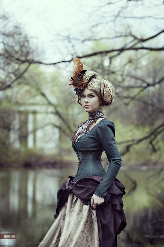 Steampunk classic Victorian. Beautiful fabric colors & gorgeous hair.