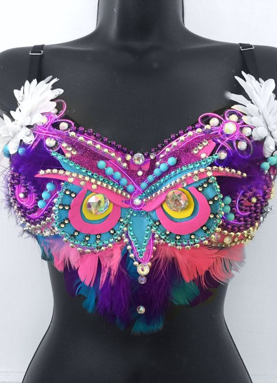 EDC Electric Owl Bra (LED lights): rave wear, festival, edm, rave bra…