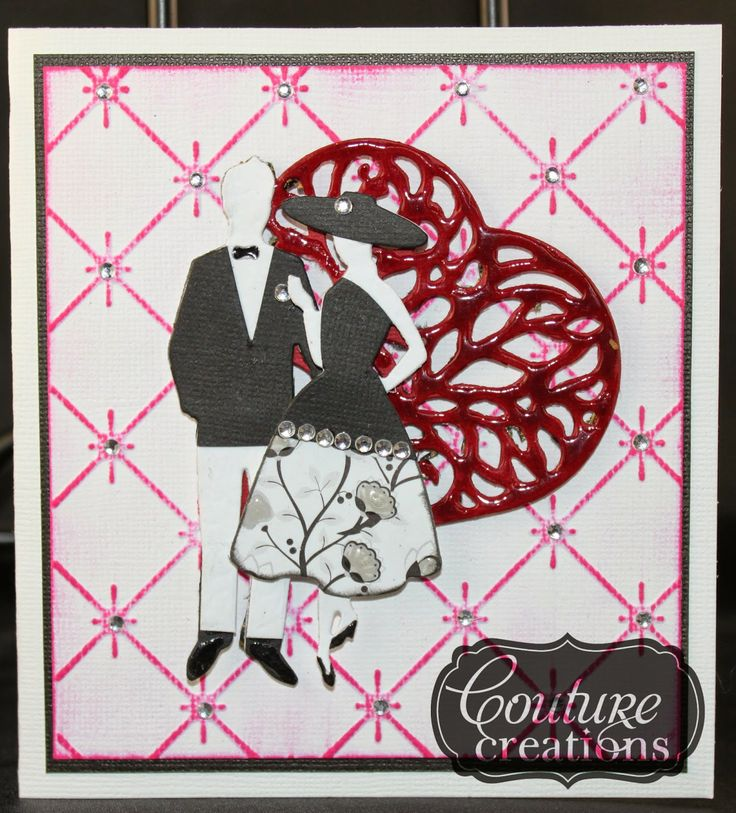 Couture Creations: Glamour Days Card by Lesa Bird | #couturecreationsaus #decorativedies #cards #hearts #embossingfolders