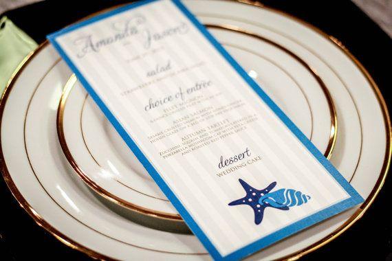 Beach Wedding Menus, Destination Wedding Stationery, Blue Wedding Menus, Nautical Wedding, Starfish and Shell Design, by Julie Hanan Design on #etsy