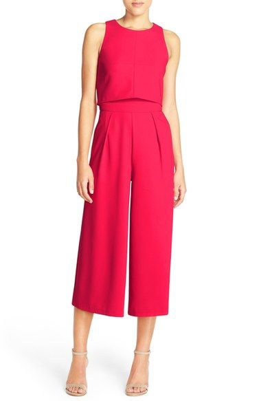 Structured jumpsuit in bold color - great for presentations.  Styled with pumps.  Chelsea28 Popover Crop Jumpsuit available at #Nordstrom
