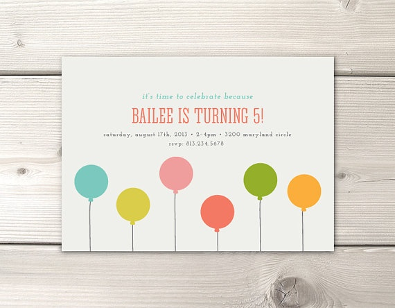 Birthday Invitation- Balloons (simple but classy)