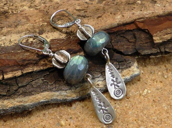 Labradorite Earrings Hill Tribe Silver Sterling Silver by Lapideum