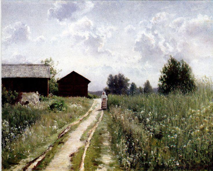 Kuva albumissa HJALMAR MUNSTERHJELM - Google Kuvat.  Maisema Tuuloksesta 1899.  Lahden taidemuseon avajaiset 1983.