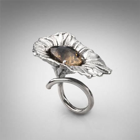 Ring | Gabriel Kabirski.  Sterling silver, smoky quartz, diamond and rhodium plated