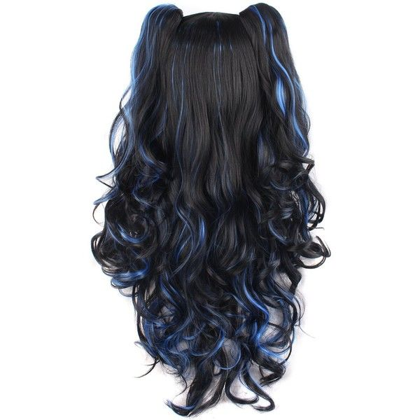 MapofBeauty Multi-color Lolita Long Curly Clip on Ponytails Cosplay... ($23) ❤ liked on Polyvore featuring beauty products, haircare, hair styling tools and curly hair care