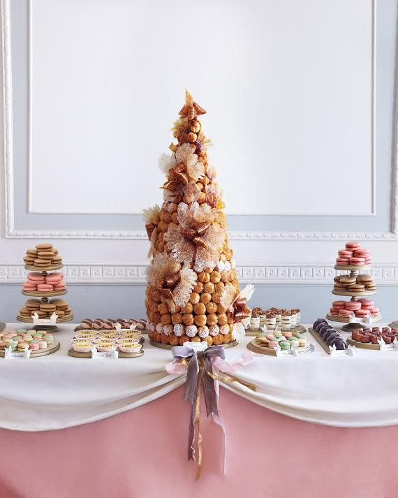 Instead+of+a+cake,+a+French+croquembouche+was+served.