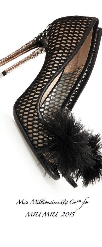 Emmy DE * Miu Miu Feather Embellished Mesh Peep-Toe Pumps