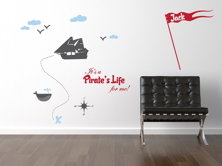 Pirate Wall Decal Set - Pirate Ship with Whale Vinyl Wall Art Sticker - Childrens Wall Decal - Boy Bedroom Decor - CB133. $56.00, via Etsy.