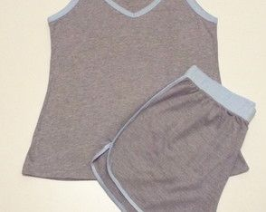 Pijama feminino blusa regata com shorts