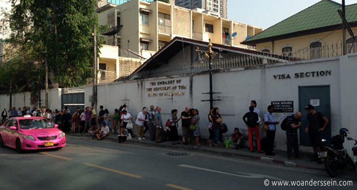 Kommende Woche Donnerstag fliegen wir mit AirAsia von Bangkok nach Myanmar. Es war alsohöchste Zeit unser Visum für Myanmar bei der Botschaft in Bangkok zu beantragen. Ein &qout;Visa on Arrival&qout; gibt es in Myanmar für Touristen leider noch nicht.  Adresse der Botschaft: 132, Sathorn Nua Road, BANG…