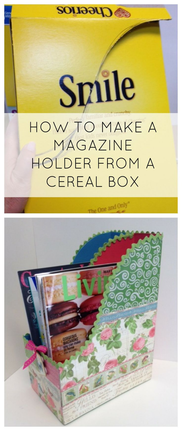 how to make a magazine holder from a cereal box - awesome way to recycle! #modpodge #plaidcrafts #diy #crafts