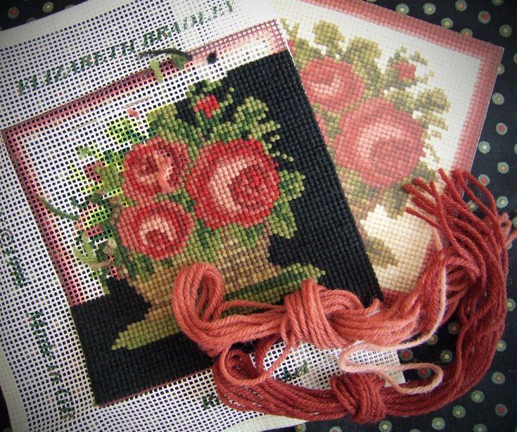 Elizabeth Bradley Rose Basket mini needlepoint kit with a customised background