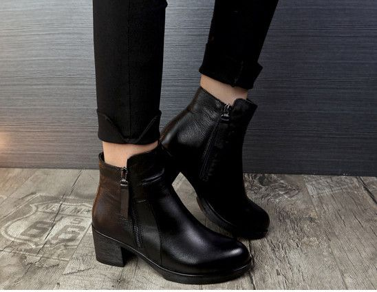 Ankle Boots For Women Botas Winter 2017 Genunie leather with Fur High Heel Moto Boots Zapatos Mujer Botas Hombre  Militar Femme
