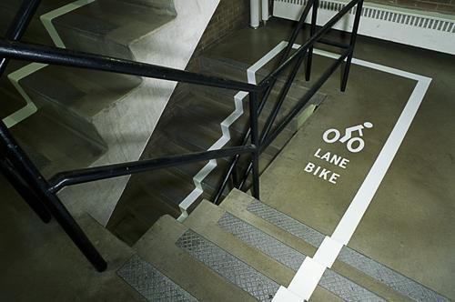 Stairs bike lane.