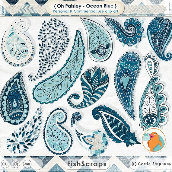 Ocean Blue Paisley ClipArt  Trendy Bohemian Clip Art by FishScraps - High Resolution - Personal and Commercial Use for Small Businesses