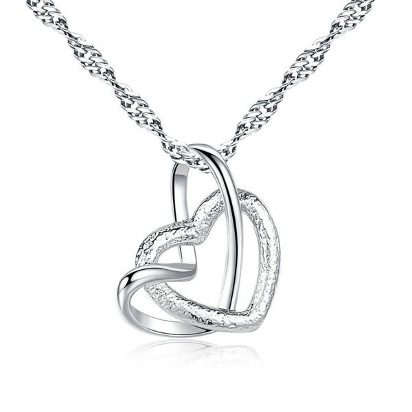 925 Sterling Silver Ladies Open Heart Necklace Valentine/'s Day Gift