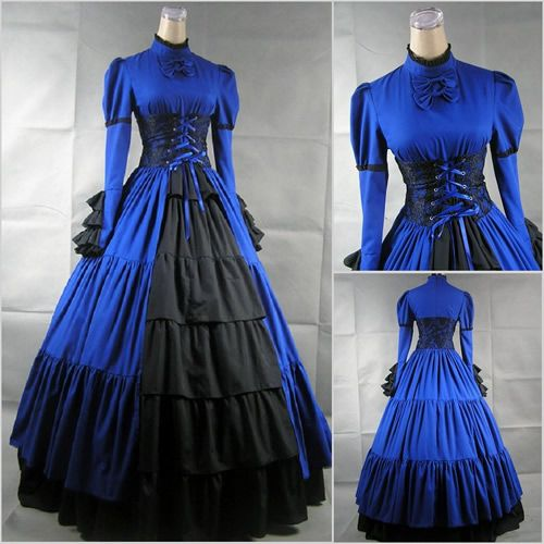 Blue Medieval Era Womens Gothic Day Dresses Ball Gowns Costumes SKU-305004