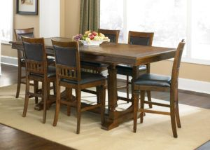 Modern Pub Table Set With Cabinet Base