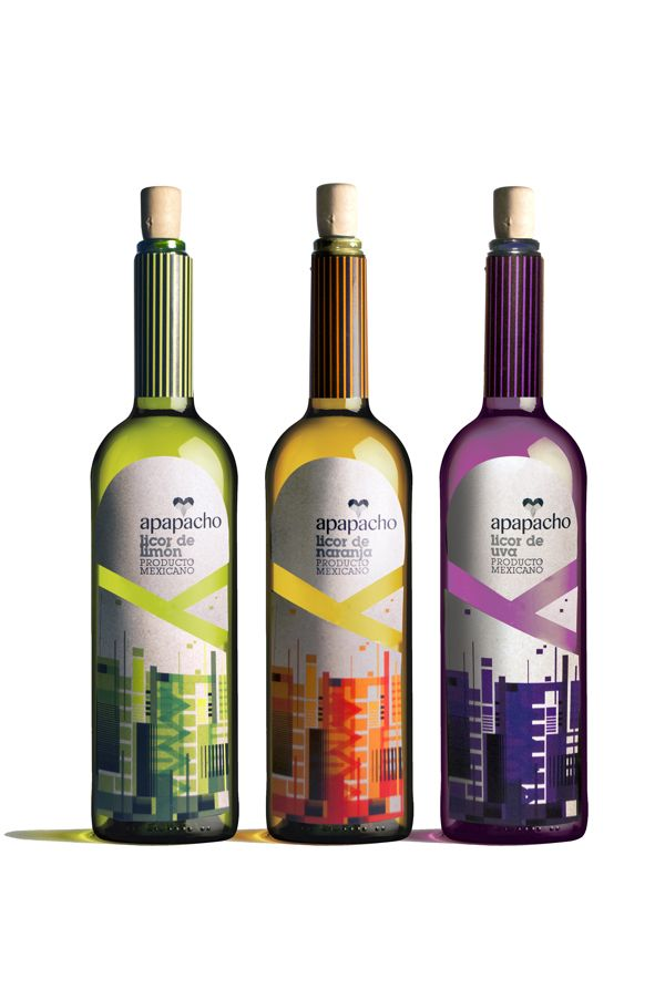 APAPACHO Mexican Liquors on Behance. I like this colorful #liquor #packaging PD