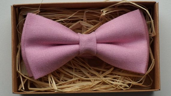 Pink bow tie / Linen bow tie / Cheap bow ties /  by ArtOfLithuania