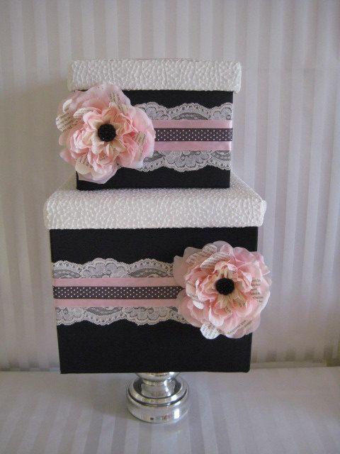 Caixa-Lace cartão-de-rosa e preto titular do cartão, bolinhas, tema francês