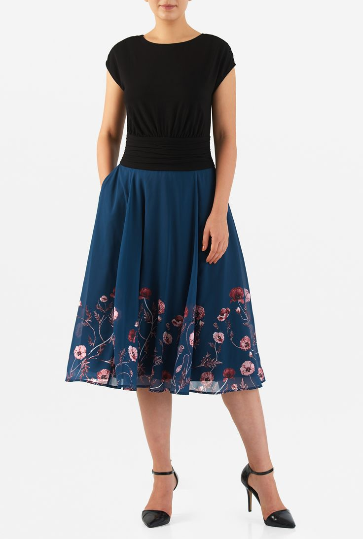 Sculptural pleats at the wide banded empire waist enrich the sophistication of our mixed media dress tailored in a cotton knit bodice and sheer georgette floral print skirt.