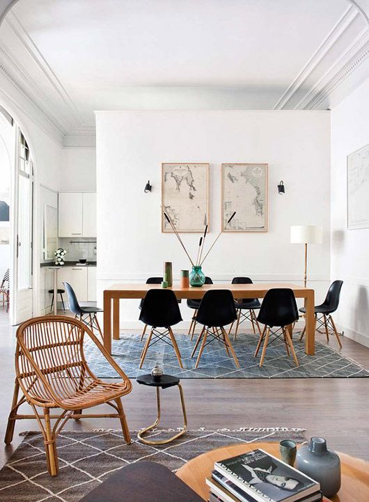 Living/dining inspiration | Grey accents (rugs and vases), wood and wicker.