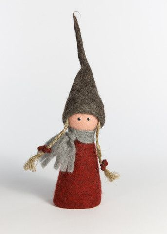 FELTED ELF GIRL WITH CHESTNUT DRESS