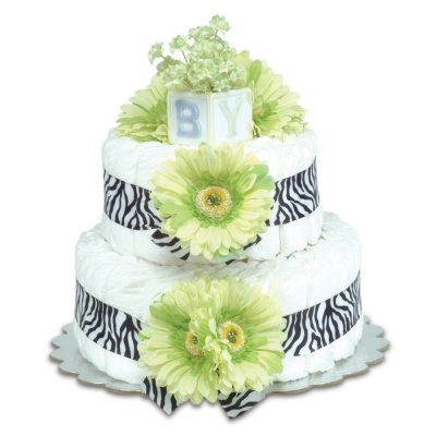 Two-Tier Green Daisies with Zebra Diaper Cake
