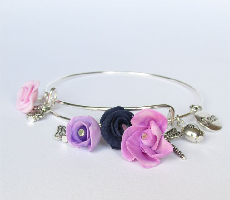 Irishmade,Energy Charm Bangle,Gift,Mom,Daughter,sister,Friend-for yourself,Made in Ireland,Selection of silver and fimo flower charms by DelabudCreations on Etsy