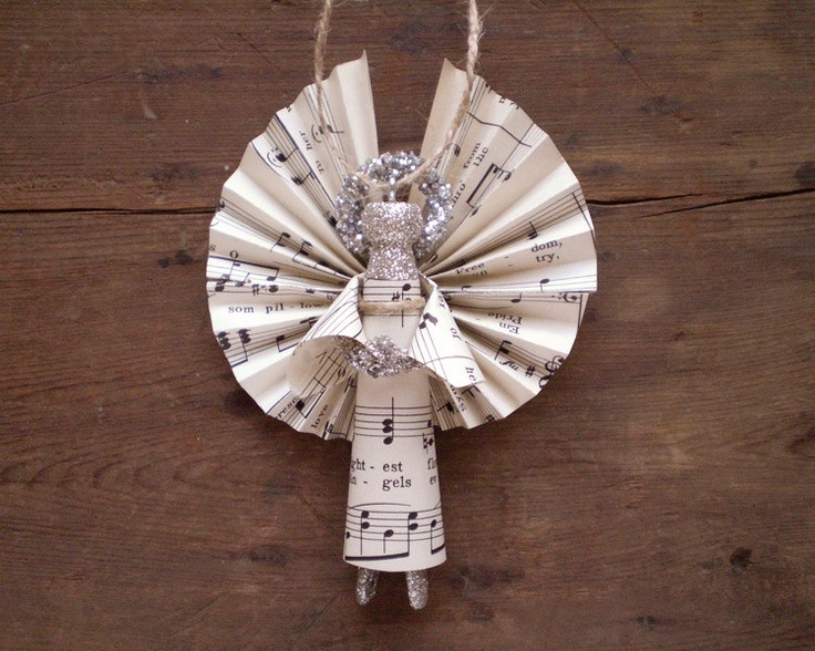 Clothespin Angel - Handmade Ornament made with Vintage Sheet Music.