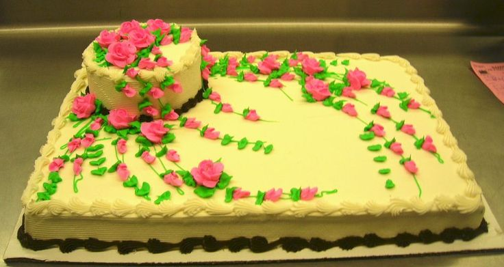 """full sheet wedding - Customer called, her husband dropped their daughter's wedding cake. This is all I could do since they were """"on their way to pick up"""" whatever I could throw together. Full sheet with a 7"""" on top. TFL"""