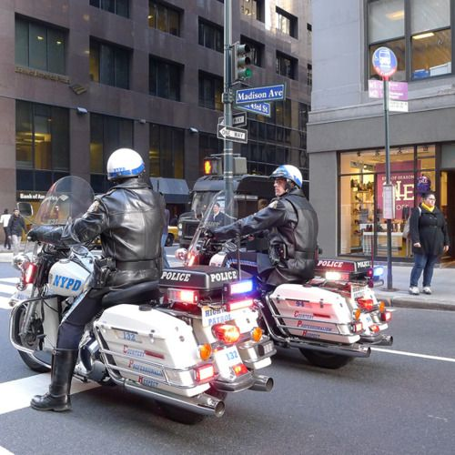NYPD motorcycles at Madison and 43rd Street.