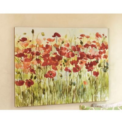 Sea of Poppies Giclee Print - Floral Landscape Giclee Print - Gallery Wrapped Canvas by  Fabrice de Villeneuve