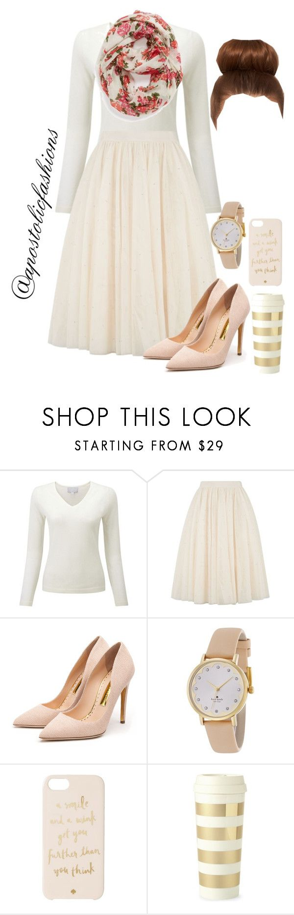 """Apostolic Fashions #1107"" by apostolicfashions ❤ liked on Polyvore featuring Ted Baker, Rupert Sanderson, Kate Spade and Capelli New York"