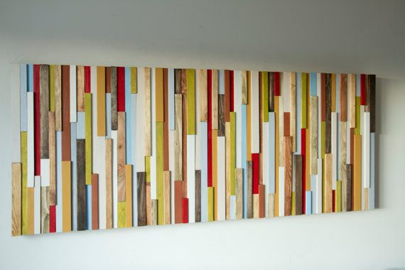 "Wood Wall Art 3D, wood sculpture, 24"" x 64"", painted wood pieces, headboard…"