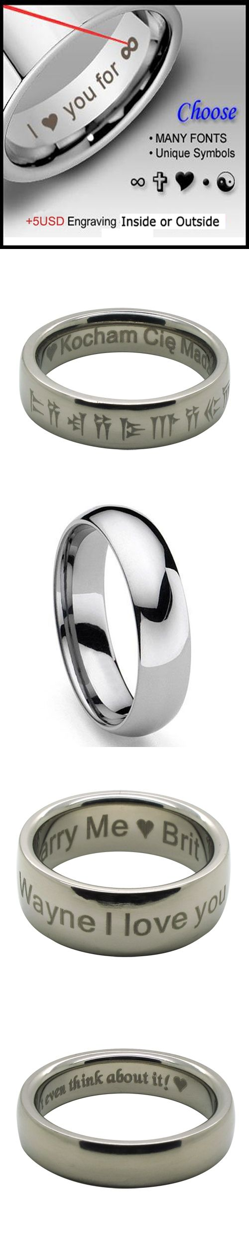 6mm Classic Shiny Tungsten Ring Dome Wedding Band 6 - 13 Custom Engraving Service Optional (#NR016)