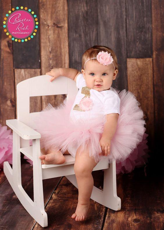 Erster Geburtstag Outfit Mädchen, Mädchen 1. Bday Outfit, erster Bday Tutu, Baby Bday, niedlichen Geburtstag Tutu, hellrosa Geburtstag Tutu, Geburtstag Tutu