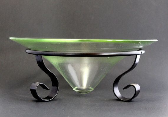 Hand Blown Glass Bowl In Wrought Iron Stand Black
