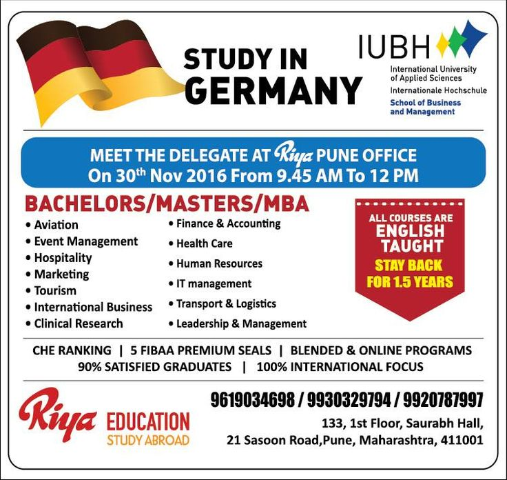 Come and meet the delegate from IUBH at Riya, Pune.