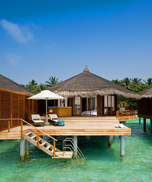 Stay at an oceanside cabana in the Maldives