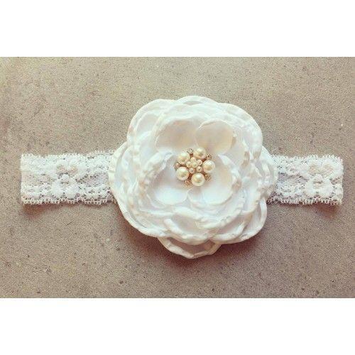 """""""Elizabeth"""" Hvidt blonde hårbånd med stor satin blomst"""