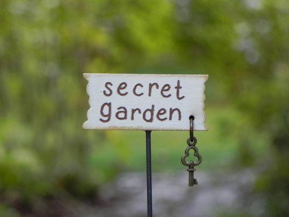 Fairy Garden Accessories Sign secret garden by TheLittleHedgerow