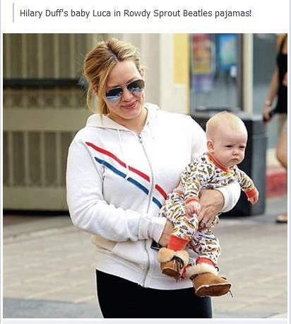 Hilary Duff's baby Luca in Rowdy Sprout Beatles pajamas!