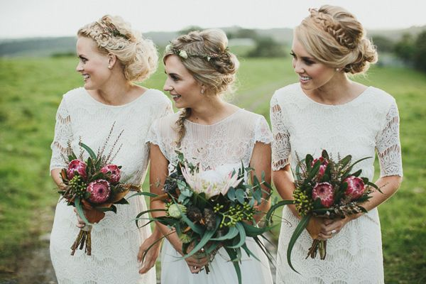 Gorgeous whimsical hairstyles for these lovely boho bohemian bridesmaids in mismatched white lace dresses | Byron Bay Farm Wedding